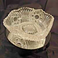 Pressed Glass Four Sided Serving Bowl Featuring Hobstar Pattern & Scalloped Edge