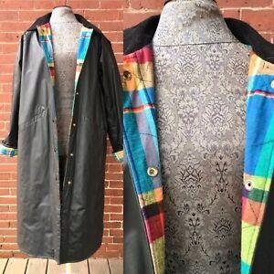 All Weather Vintage Misty Harbor Madras Lined Slicker Rain Jacket Coat Sz Small