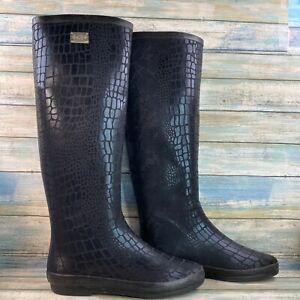 DAV Black Snake Print Rubber Knee High Rain Boots Pull On Winter Casual Size 8M