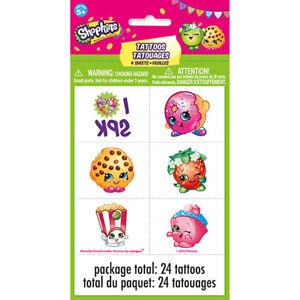 Shopkins 4 Tattoo Sheets (24 total) Birthday Party Tattoos