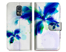 Blue Butterfly Wallet Case Cover For Samsung Galaxy S5 - A009
