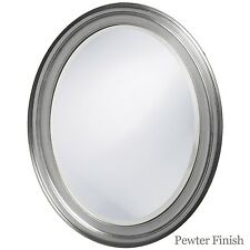Oval Framed Bathroom Mirror - Perfect For Vanity Wall, Antique Pewter