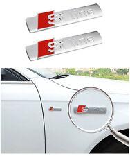 2 Stück S-Line Sline Matte Emblem Schriftzug für Audi Q3 Q5 A3 A4 A5 S3 TT Q7
