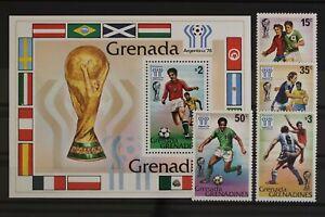 Grenada-Grenadinen, MiNr. 305-308 + Block 38, Fußball, postfrisch / MNH - 631583