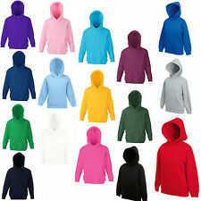FRUIT OF THE LOOM KIDS HOODED TOP HOODIE - 16 COLOURS - BRAND NEW