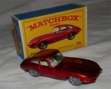 Scarce Tinted windowow.60s.LESNEY.Matchbox.32 E Type Jaguar.GREY TIRE.WIRE WHEEL