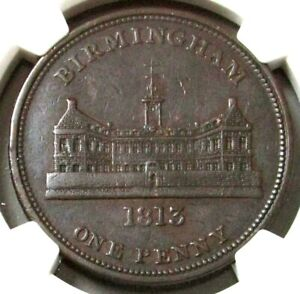 1812 GREAT BRITAIN PENNY BIRMINGHAM-WORKHOUSE NGC AU 50 BN W-394