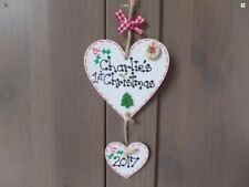 Personalised Babys 1st First Christmas Heart Tree Decoration Gift Plaque  🎄