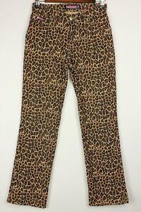 Bubblegum Womens Juniors Jeans Size 1/2 Leopard Print Straight Leg Hemmed