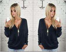 sexy V-collar zipper Long sleeve shirt Lady sweater Women's clothing