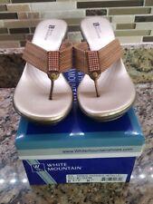 Women's Wedge Flip Flops White Mountain Rye Dark Bronze Metallic 8 1/2 M NEW $59
