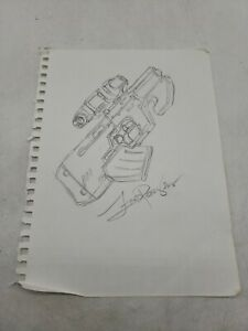 FRED PERRY Gun DRAWING ORIGINAL ART COMIC ILLUSTRATION signed autograph 9x11 f2