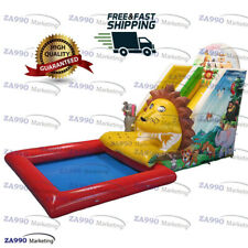 Commercial Inflatable Lion Animals Bounce Water Slide & Pool With Air Blower