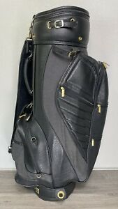 Vintage Mizuno Cart Golf Bag With Rain Cover Faux Leather 6 Way Divider Black
