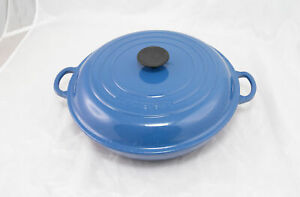 Le Creuset 3.5 QT #30 Enameled Cast Iron Signature Braiser Marseille Blue