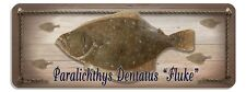Fluke Summer Flounder Rustic Wall Sign Plaque Gifts Men Sea Fishing Fish Metal