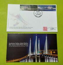 Sultan Abdul Halim 2nd Penang Bridge Malaysia 2014 stamp FDC designer autograph