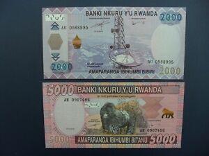2No. 2014 RWANDA 2000 & 5000 FRANCS BANKNOTES (AFRICA) FRESH ORIGINAL UNC