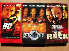 3 Nicolas Cage VHS movies: Gone in 60 Seconds, The Rock, Con Air