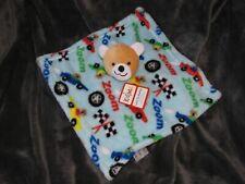 Kidgets Baby Security Blanket Teddy Bear Blue Zoom Racecars Cars New