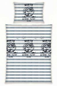 Wende Bettwäsche 100 % Baumwolle Maritim grau blau Streifen 2 tlg Reißverschluss