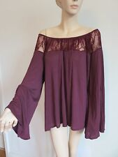KIMCHI BURGUNDY RED LACE TRIM RUCHED NECK FLARED SLEEVE BOHO TOP SIZE L/XL