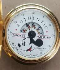 Vintage Disney Mickey Mouse Animated Dial Colibri Pocket Watch 14k Chain