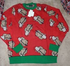 NEW UGLY Christmas Holiday Sweater Crew Men XL X-Large Sloth Animal All Over NWT