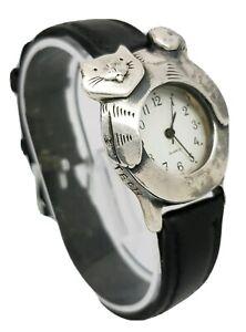 Ladies Tick Tech Nature Watch Cat Shape Bezel Silver Tone Wrist Watch A7