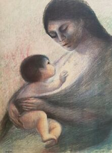 Fanny RABEL Maternidad [Motherhood] original signed rare Mexican fine art print