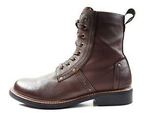 G STAR Raw 11 Riveted Combat Boots Brown Pebbled Leather