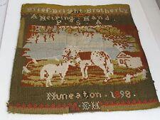 Antique Needlepoint  Sampler Horse, Colt and Barn 1898 Original Frame