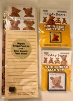 3 New USPS Collectible Teddy Bears Lapel Pin, Magnet & Magnetic Notepad & Pencil