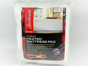 "Sunbeam Thermofine Quilted Heated Electric Mattress Pad White Full 54""X75"""