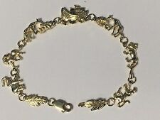"NEW 14KT Yellow Gold Noah's Ark Bracelet 7.25"" and weighs 10 Grams"