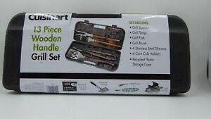 Cuisinart 13 Piece Wooden Handle Grill Utensil set ~ NEW