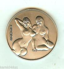 NUDE 2 Sexy Lady Women SILVER Erotic Risque HEADS TAILS FLIP Coin Token