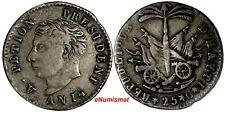 Haiti Western Rep. Alexandre Petion Silver AN14 (1817) 25 Centimes KM15.1(14969)