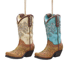 Western Cowboy Boot Ornaments Set of 2 Hand Painted Wedding Favor Decoration