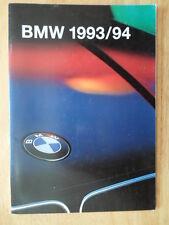 BMW Range 1993 1994 UK Market brochure prospekt - 3 5 7 8 & M3 Coupe M5 850CSi