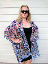 Plus Size Silk Kaftan Kimono Cape Top Beach Coverup Overlay Paisley 192 BLUE