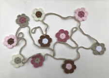 Pale pink, mocha, parchment and cream Crochet Flower Garland Bunting 2 metres