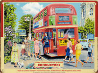 New 15x20cm LONDON BUS CONDUCTOR enamel style metal vintage advertising sign
