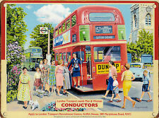 New 15x20cm London Bus Conductor retro small metal advertising wall sign