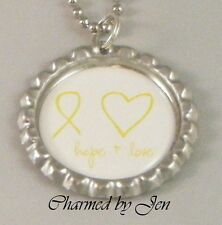 "New SUICIDE Awareness Yellow Ribbon ""hope + love"" Bottle Cap Necklace 24"""