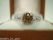FANCY CHAMPAGNE BROWN DIAMONDS ENGAGEMENT RING 14K WHITE GOLD 1.29 CARAT HALO