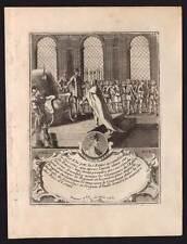 Ritratto del roi PIPINO IL BREVE incisione stampa originale del 18eme secolo