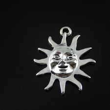 **6PCS Antiqued Style Silver Alloy Sun Smile Face Pendant Charms 30*25*4mm