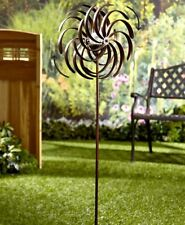 Solar-Powered Garden Spinner - Double Spiral Wind Sculpture for Yards and Patios