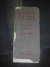 EDISON BLUE AMBEROL RECORD CATALOG APRIL 1914